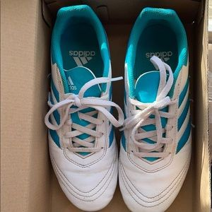 adidas White and Blue Soccer Cleats